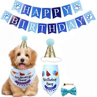 Wholesale birthday cakes dogs resale online - Dog clothes pet birthday party dog flag triangle scarf cake hat decoration props layout supplies holiday dress up set DHF2356