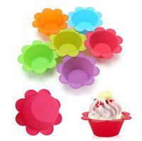 Wholesale kitchens colours for sale - Group buy New Dining Flower shape Cupcake Liners mold Kitchen Craft Colour Silicone Cupcake Cases silicone Cake bakeware
