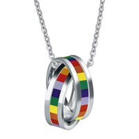 Wholesale titanium steel ring rainbow for sale - Group buy Europe America Fashion Style Lady and Men L Titanium steel rainbow necklace Pendant K Plated Gold Necklaces With Double ring