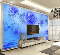 Wholesale wallpaper roses resale online - 3d Wallpaper walls Blue Rose d Floral Wallpaper Indoor TV Background Wall Decoration Mural Wall paper