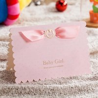Wholesale baby girl birthday party invitations resale online - Baby Birthday Invitation Cards with Cute Baby Car and Pink Ribbon Shower Greeting Crad For Girls Party Decoration CW5301