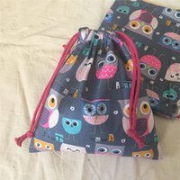 Wholesale string bag owl resale online - YILE Cotton Twill Fabric Handmade Cosmetic Pouch Drawstring Multi purpose Bag Party gift BagPrint Cup Owls Gray Base N630d
