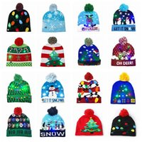 Wholesale christmas hats resale online - DHL style Led Christmas Halloween Knitted Hats Kids Baby Moms Winter Warm Beanies Pumpkin Snowmen Crochet Caps