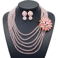 Wholesale bridesmaid jewelry sets color resale online - Yulaili African Beads Jewelry Sets Nigerian Wedding Bridal Bridesmaid Pink Color Multi Layer Flower Shape Necklace Stud Earrings