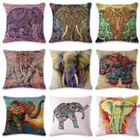 Wholesale coffee cushion covers for sale - Group buy Flax Pillowcase Ethnic Style Elephant Patterns Cushion Cover Bohemian Styles Coffee House Pillow Cases New Arrival hs L1
