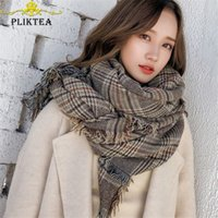 Wholesale tippet stole for sale - Group buy 85 cm Big Size Women s Plaid Scarf Shawl Winter Warm Tippet Scarves Female Poncho Stole Plaid Pashmina Ladies Blanket Scarf Y201007