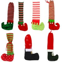 Wholesale chair foot covers resale online - Non slip Santa Claus Chair Foot Socks Table Legs Cover Ornament For Christmas Xmas Navidad New Year Party Decoration Supply BWC1597