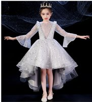 Wholesale simple hand made dresses for girls for sale - Group buy The new style of short front and long round neck layered simple good looking and fashionable hand made flowered puff dress for girl