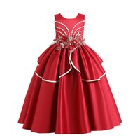 Wholesale New Elegant Fashion Christmas Party Dresses for Girls Flower Half Sleeve Lace Patchwork Wedding Party Princess Dresses