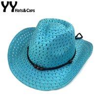 Wholesale west cap resale online - Hollow West Cowboy For Kids Summer Beach Caps Solid Western Cowboy Hat Children Sun Visor Cap With Wide Brim Boys YY17156