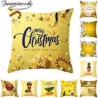 Wholesale dark purple decorative pillows for sale - Group buy Fuwatacchi Gold Christmas Pattern Cushion Cover New Year Gift Throw Pillow Covers for Home Sofa Decorative Pillowcases cm