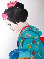 Wholesale cherry blossom wall art painting resale online - Geisha with Cherry blossom Home Decor Handpainted HD Print Oil Painting On Canvas Wall Art Canvas Pictures