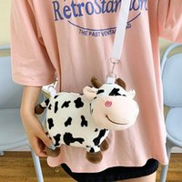 Wholesale doll cross bag for sale - Group buy Japanese ins cute funny cartoon plush cow doll messenger bag girl personality small bag girl school Shoulder Bags Women s