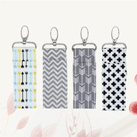 Wholesale key holder ring big resale online - 4pc Women Lipstick Holder Cross Ripple Big Arrow Colorful Arrow Patterns Chapstick Keys Lip Balm Rings Pouch Keychain Bags bbyhDp