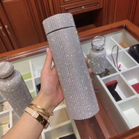 Wholesale stainless steel smart mug resale online - 500ml Creative Diamond Thermos Bottle Water Bottle Stainless Steel Smart Temperature Display Vacuum Flask Mug Gift for Men Women