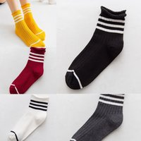 Wholesale curl bar resale online - Autumn and winter curled three bar children sstriped women s Autumn and winter curled cotton stockingsstockings stockingsthree bar stockings