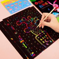 Wholesale art stencils for painting resale online - Magic Color Rainbow Scratch Art Paper Card Set With Graffiti Stencil For Drawing Stick Diy Art Painting Toy Kids Gift Gyh sqcFRt ABC2007