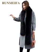 Wholesale fox fur stole wrap for sale - Group buy RUNMEIFA Solid Color Simulation Fox Pashminas For Women Winter Warm Scarf Collar Shawl Wraps Female Stole Noble Fur Scarves Y201007