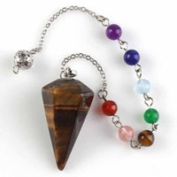 Wholesale pendulum jewelry resale online - Natural Stone Necklace Chakra Healing Crystal Tumbled Palm Quartz Dowsing Pendulum Reiki Balance Meditation Jewelry Fast Shipping ZZF2309