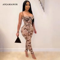 Wholesale jumping suits for sale - Group buy ANJAMANOR Fashion Mesh Print Ruched Stacked Pants One Piece Jump Suits Sexy Clothing Club Outfits for Women Fall D87 CF16