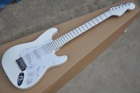 Wholesale white guitar for sale resale online - Hot Sale Maple Fingerboard All White Electric Guitar With White Pickguard Chrome Hardware Single Pickups Can Be Customized
