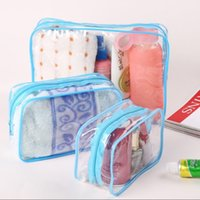 mavi poşetleri yıkamak toptan satış-Three size Transparent Cosmetic Bag Bath Wash Clear Makeup Bags Women Zipper Organizer Travel PVC Cosmetic Case Red Blue Yellow