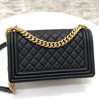 Wholesale golden end resale online - Top quality shoulder bags small Diamond Lattice Genuine Leather classic golden chain quilted flap woman wallet crossbody a high end bag sac