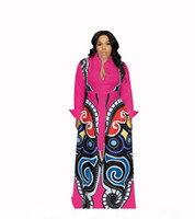 Wholesale clothings resale online - Rose red Large Swing African Print Dresses Women Clothes Plus Size Sexy Elegant Butterfly Print Dress Robe Africaine Design Clothings