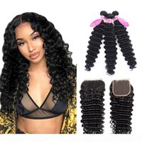 Wholesale remy human hair jet black for sale - Group buy Brazilian Deep Wave Bundles With Closure Double Weft Remy Human Hair Weave Bundles With Closure Jet Black