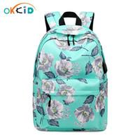 Wholesale kids book printing resale online - Okkid Children School Bags Green Flower Printing School Backpack For Kids Waterproof Book Bag Gifts For Girls Cute Backpack Usb bbyzwT