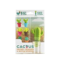 Wholesale drink markers for sale - Group buy Silicone Cactus Wine Stopper Wine Bottle Cork Plug Party Wine Glass Marker Drinking Buddy Cactus Drink Charms