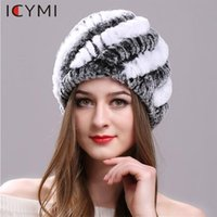 Wholesale handmade knitted hat adult for sale - Group buy ICYMI Natural Rex Fur hat Elastic Knitted Cap with Stripe Design Handmade Real Fur Hat Ladies Headgear Fashion Women