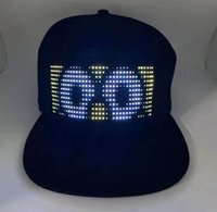 Wholesale designer baseball cap resale online - Manufacturers flashing LED men s and women s hats custom bluetooth hats led screen glowing word baseball caps custom LOGO