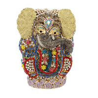 Wholesale gold elephants resale online - Elephant Crystal Evening Bag Hollow Out Party Bag Customized Color Rhinestone Clutches Evening Bags Animal Shape Crystal Bag For Women
