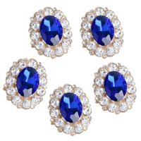 Wholesale 5 Piece Oval Shape Blue Crystal Flatback Buttons Jewelry Making Accessories Findings