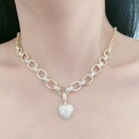 Wholesale pendant neclaces for sale - Group buy Luxury Dubai Wedding Jewelry Cubic Zirconia Big Heart Pendant Necklaces for Women Bridal Neclaces