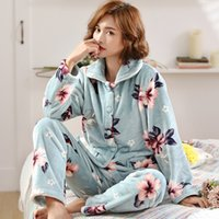 Wholesale thermal suits for winter for sale - Group buy Autumn and Winter Coral Velvet Pajamas Womens Thickened Fleece Thermal Flannel Long Sleeve Homewear Winter Suitable for Daily Wear Suit