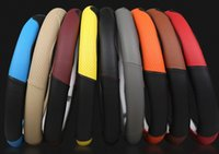 Wholesale sports direction resale online - New personality car steering wheel cover two color stitching breathable perforated leather direction cover sports wind handle cover wholesal