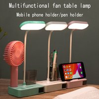Wholesale small desk lamps led resale online - LED Eye Lamp Student Learning Dormitory USB Charging Plug in Dual Purpose Bedside Desk Writing Reading Small Fan C0930