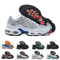 Wholesale black mens shoes for sale - Group buy Male Tn Plus Running Shoes SE Ultra Mens Stripes White Blue Air Designer Sneakers Retro Tns Classic Outdoor Trainers Size