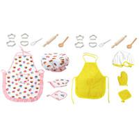 11PCs Role Play Children Kitchen Cooking Baking Girls Toys Cooker Play Set Hot New Children Kids Kitchen Bake Set Hat + Apron