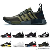 Wholesale green designer shoes for women resale online - Sale Bred Runner R1 Primeknit Atmos Thunder Nmds Running Shoes For Men Women Oreo Military Green Red Marble Tri color Sports Sneakers