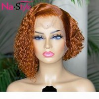Wholesale cutting ginger resale online - Pixie Cut Lace Front Human Hair Wigs Black Women Ginger Colored Human Hair Wigs Kinky Short Curly Remy