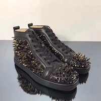 Wholesale name sneakers resale online - Elegant Name Black Genuine Leather Sneakers With Pik Pik Spikes High Top Red Bottom Shoes Party Wedding Studded Footwear With Box