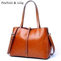 Wholesale satchels totes army bags resale online - FoxTail Lily Brand Women Tote Shoulder Bag Genuine Leather Handbags High Quality Crossbody Bags Large Capacity Shopping Bags