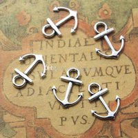 Wholesale metal plate bracelet connectors resale online - New Silver Plated Mini Anchor Charm Connectors x15mm Anchor Bracelet Connector Pendant Beads Vintage Diy Jewelry Findings Metal