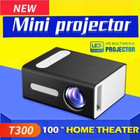 filmes de teatro venda por atacado-Projector LED T300 Micro Mini Projector portátil HD de bolso para Video Home Cinema Suporte HDMI USB SD Início Media Player