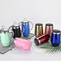 Wholesale fashion baby pacifier resale online - Stainless Steel Vacuum Cup Fashion Water Bottle Baby Pure Color Pacifier Cup With Handle Winter Heat preservation Cups WY303DXP