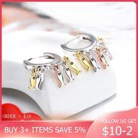 CodeMonkey Cute 3 Color Little Fish Hoop Earring Authentic 925 Sterling Silver Earring For Women Fashion Jewelry CME446