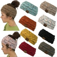 Wholesale headband twist winter for sale - Group buy Ponytail Hats Hairband Crochet Twist Headband Colorful Winter Ear Warmer Elastic Hair Band Wide Hair Accessories Party Favor GWB2546